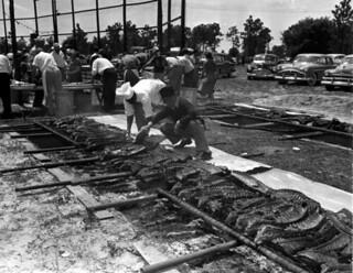 Men preparing ribs for the Mathews Bridge barbecue: Jacksonville, Florida