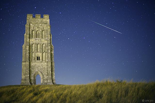 Somerset:  Meteor at Midnight, Glastonbury Tor.