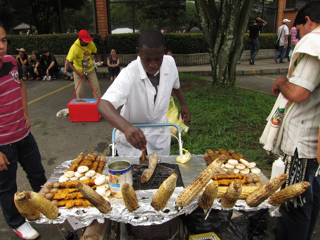 Barbecued corn on the cob is a popular snack, and you'll see vendors selling it everywhere, from outside the soccer stadium to the streets and parks.