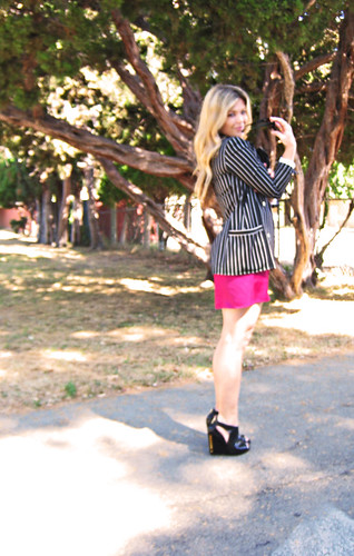 striped blazer+pink dress+black studded wedges