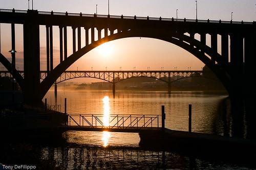 usa mist reflection film sunrise river tn knoxville footbridge tennessee kodakportra160vc bigorange vols nikonf5 henleystbridge gaystbridge nikon357028