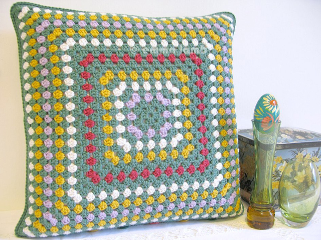 Evelyn, square cushion cover hand crochet by Emma Lamb - Now in my Etsy shop!