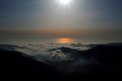 sunset sea lebanon mountain clouds sannine
