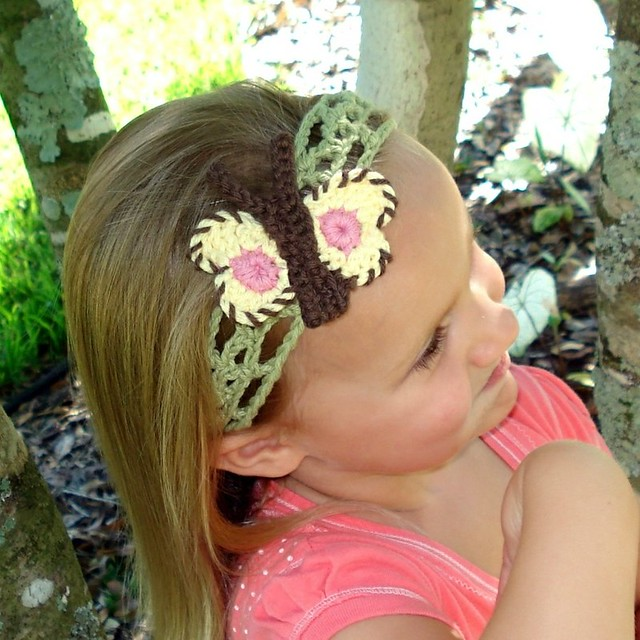 Crochet Pattern Headband Butterflies Flowers Flickr ...
