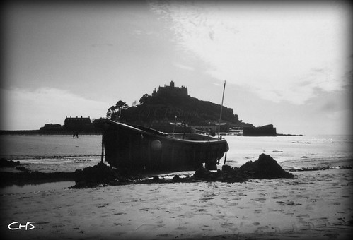 Oldie, 35mm, Beached fishing boat at St.Michael's Mount, 1995 by Stocker Images