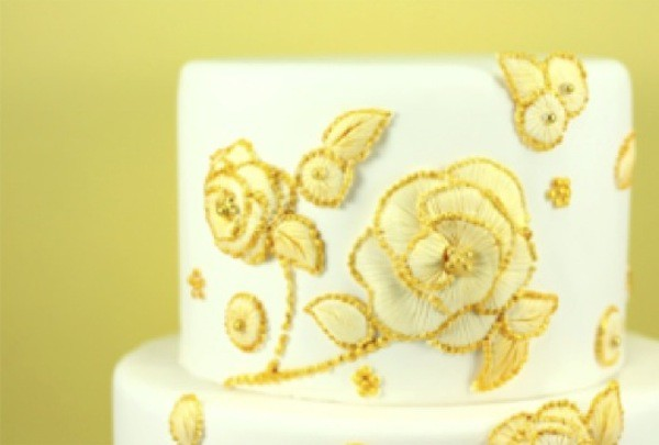 Yellow Embroidered Cake-Eat Cake Be Merry-Camille Styles Events