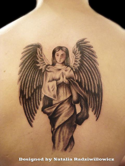 Guardian Angel on back tattoo