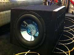 loudspeaker, subwoofer, electronic device, wheel, stereophonic sound,