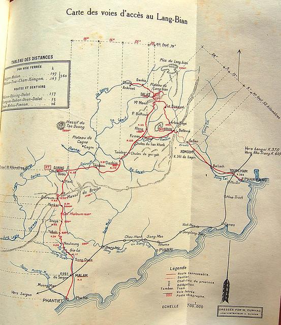 Carte des voies d'accès au Lang-Bian - Bản đồ đường đến cao nguyên Lang-Bian