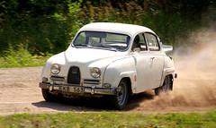 automobile, vehicle, compact car, antique car, sedan, classic car, vintage car, saab 96, land vehicle,