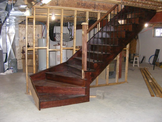 Basement winder stair very beautiful stain choice on for Building winder stairs