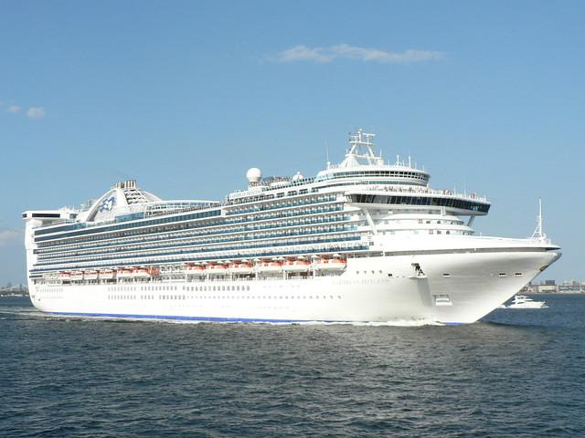 Caribbean Princess leaves New York Harbor