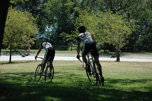 Riding bikes at Greenlake, in full bike gear, Seattle, Washington, USA by Wonderlane