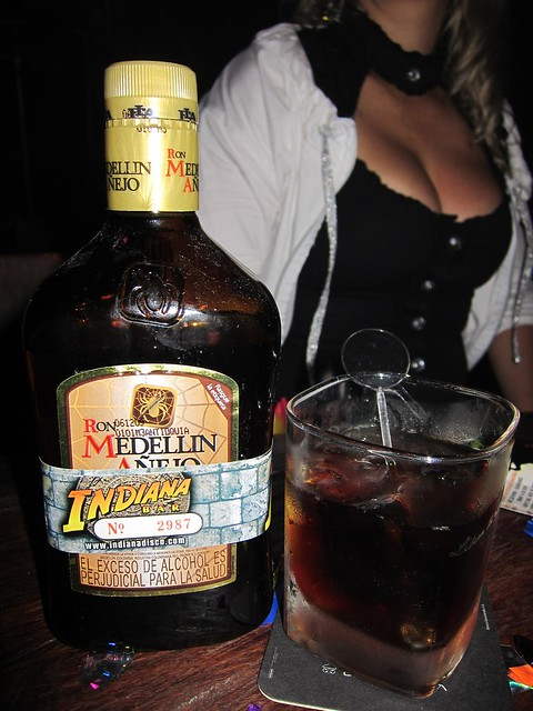 Colombian clubs often add their own branding around the liquor bottles.