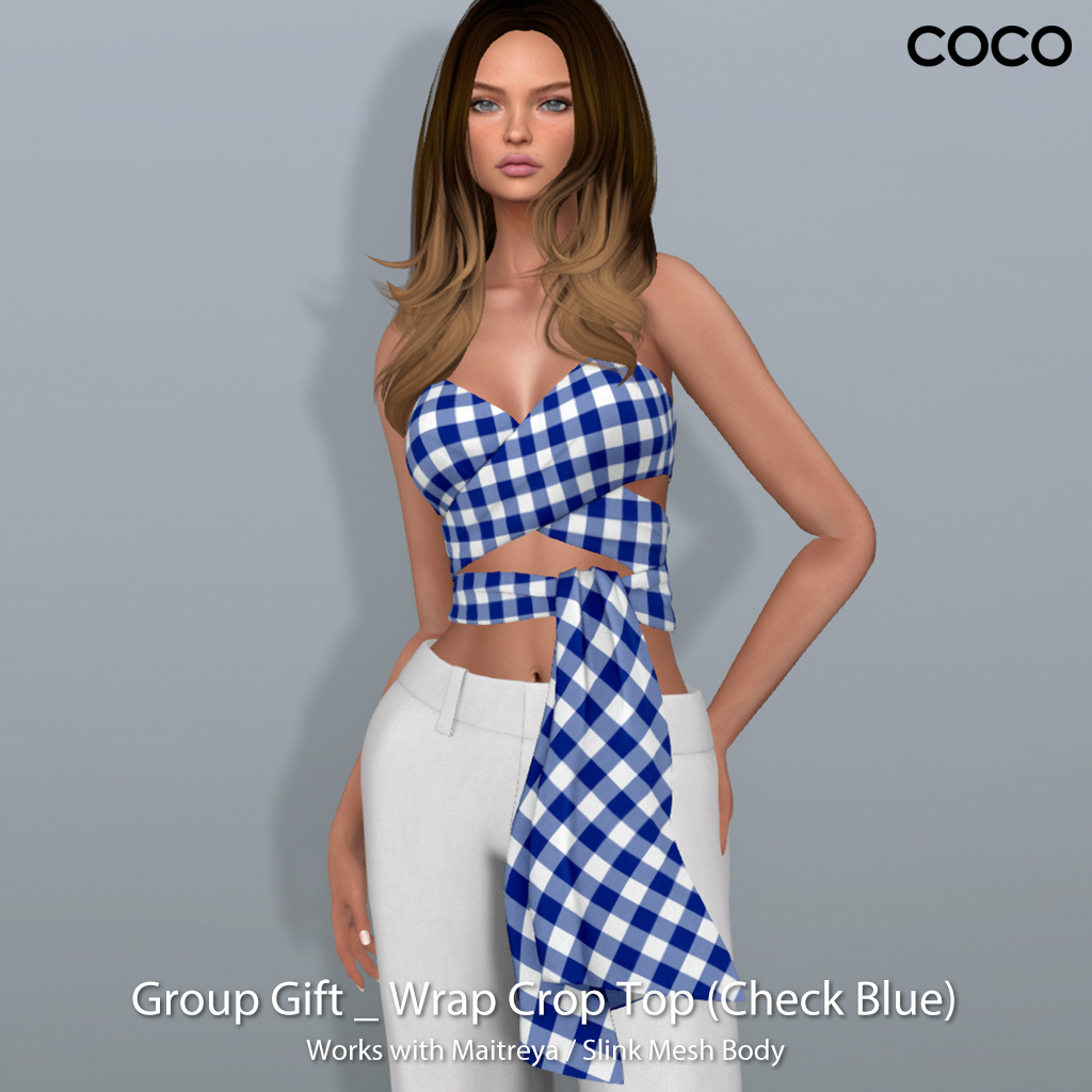 COCO Group Gift : Wrap Crop Top (check Blue) - SecondLifeHub.com