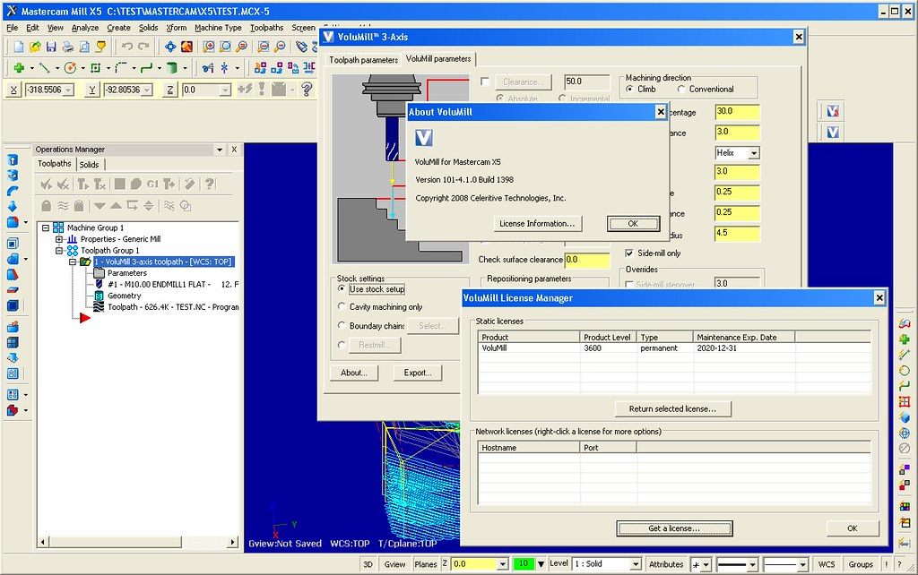 Working with VoluMill V4.1 build 1389 for Mastercam X5