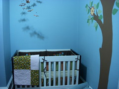 art, furniture, wall, room, mural, bed, interior design, nursery, wallpaper, blue,