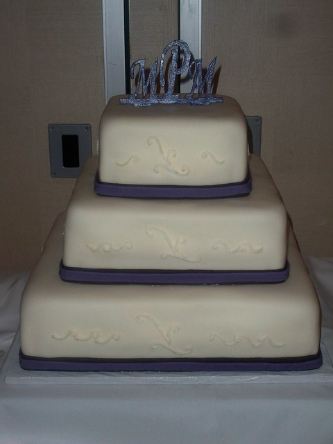 Black and Lapis Wedding Cake with Monogram
