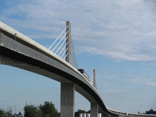 Canada Line Skytrain bridge over north fork of Fraser River between Richmond and Vancouver, BC.
