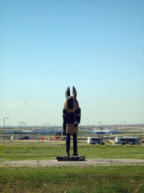 Anubis statue outside Denver International Airport