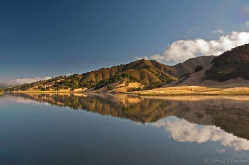 california blue sky usa cloud sun white mist mountain lake west reflection tree green nature water grass america landscape oak hill smooth peaceful calm ridge shore mountainside hillside slope morganhill mountainscape potofgold uvasreservoir colorphotoaward