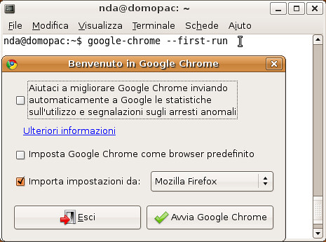 Chrome con --first-run (su Linux)