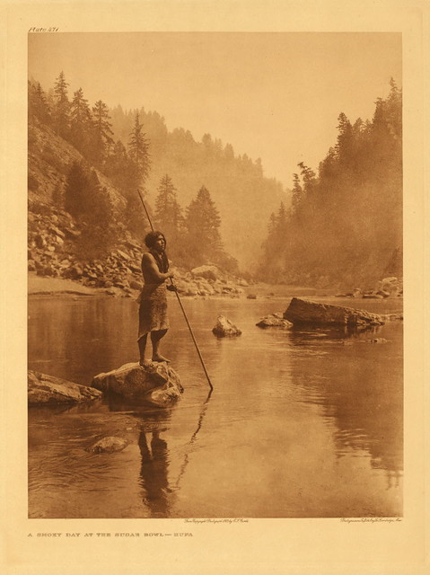 Smoky day at the Sugar Bowl - Hupa, by Edward S. Curtis