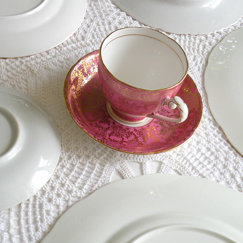 Royal Grafton fine bone china teacup & sauce in raspebrry pink from England by highteaforalice
