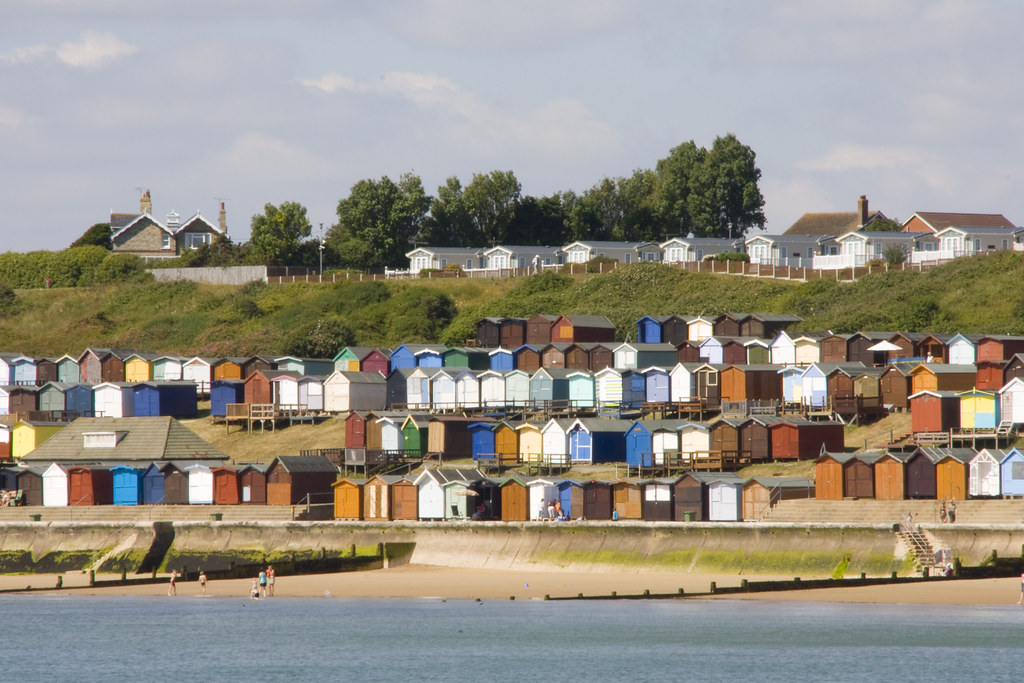 Tiers and terraces of beach huts at Walton-on-the-Naze