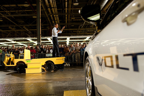 President Barack Obama delivers remarks at General Motors Auto Plant in Hamtramck, Mich., July 30, 2010. (Official White House Photo by Pete Souza)