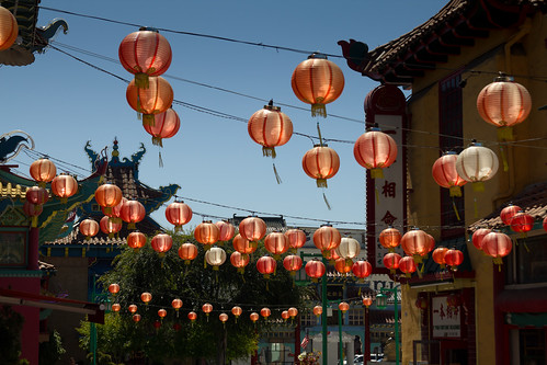 Chinese paper lanterns, lit up by the sun