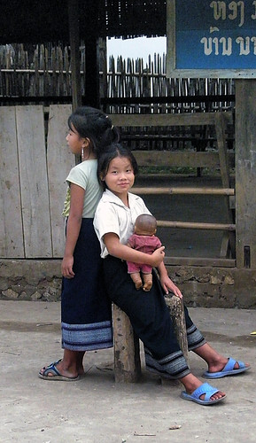 two hilltribe girls in a village outside of Luang Prabang