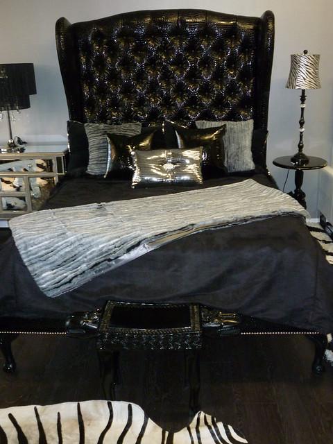 Black croco elegant queen sleigh bed flickr photo sharing