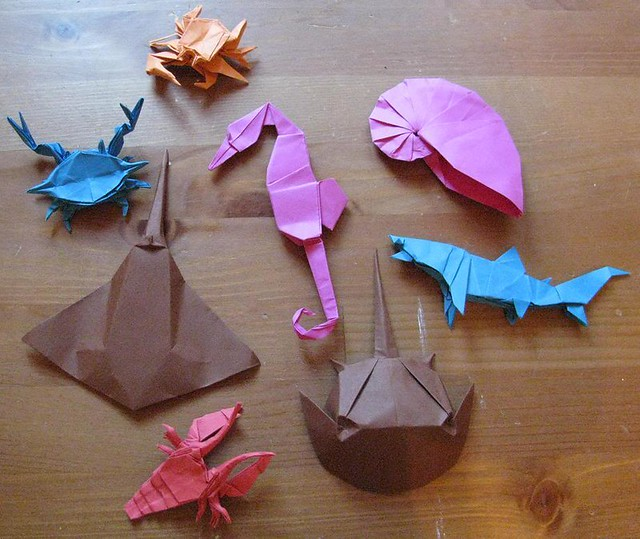 origami sea life some sea life i made for the son of a