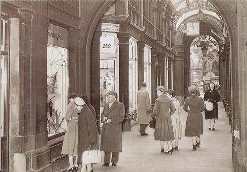 An avenue in the Swan Arcade looking towards Market St, Bradford, 1958.