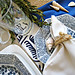 blue and white beach table setting and rope napkin holders