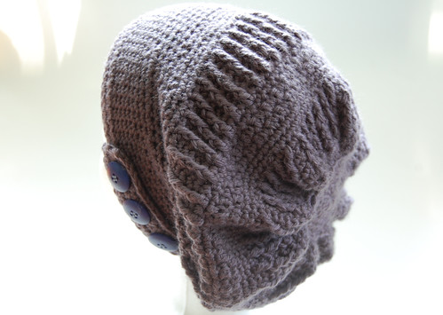 crocheted sand dollar slouch hat