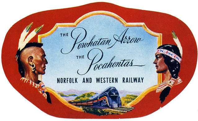 Norfolk and Western Railway - Powhatan Arrow and Pocahontas luggage sticker - date unknown