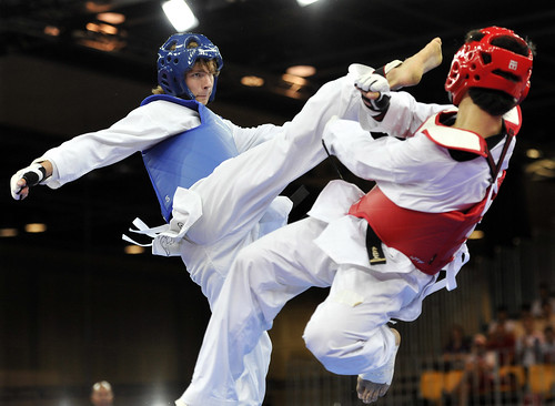Taekwondo quarter final match in Singapore Youth Olympic Games