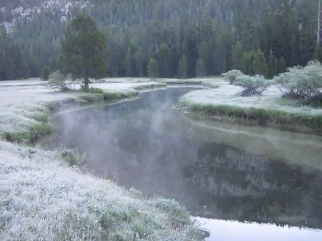 2490 Video of Mist rising from the Tuolumne River in the frosty air of dawn