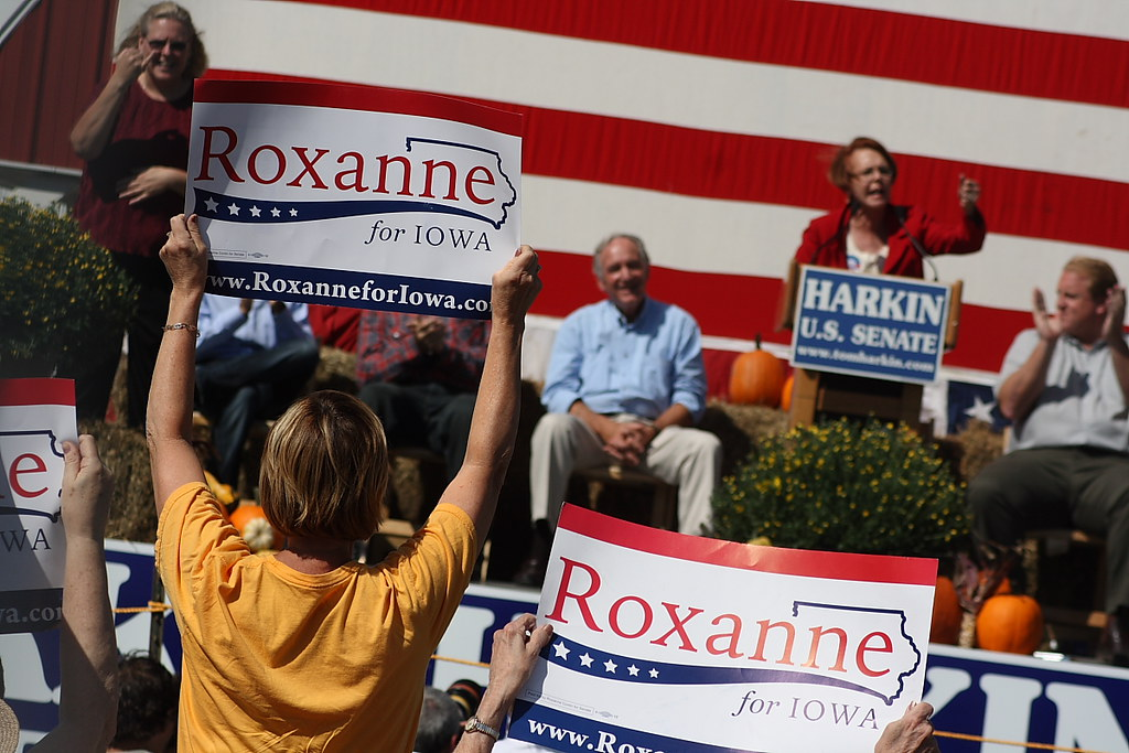A supporter of Roxanne Conlin, candidate for US Senate, cheers as she gives a speech.