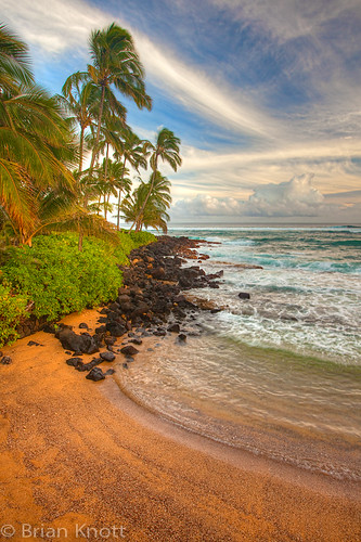 ocean trees sunset sea sky beach water clouds island hawaii coast twilight sand rocks waves pacific coconut dusk south palm shore kauai tropical poipu brianknott forgetmeknottphotography fmkphoto