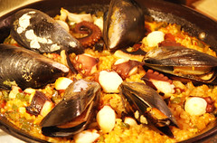 meal, clam, paella, seafood, food, dish, cuisine, clams, oysters, mussels and scallops,