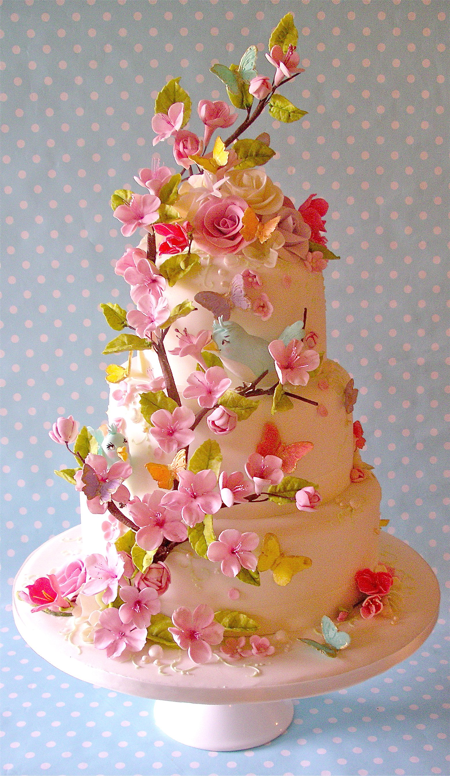 Summer blossom wedding cake