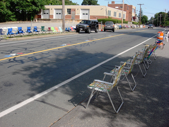 Fourth of July parade chairs on North Ave; Wakefield, MA (2010)