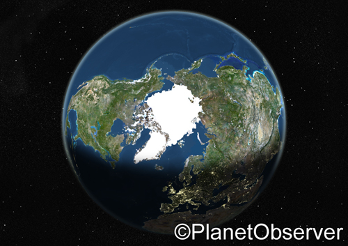 Globe Centred On The North Pole Satellite Image Planet