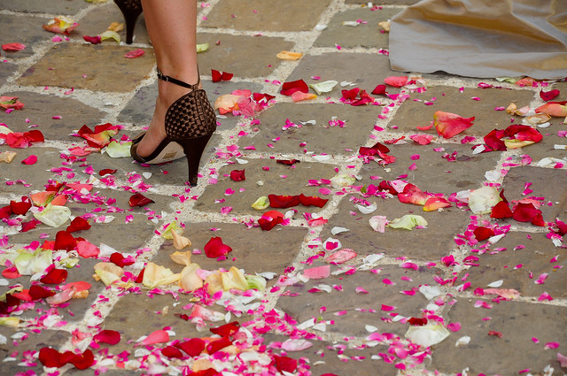 Bridesmaid high heels and rose petals
