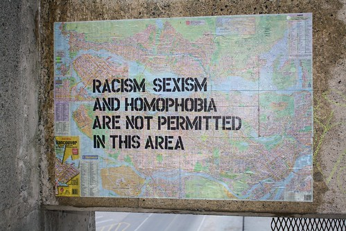 Image of the words racism sexism and homophobia are not permitted in this area