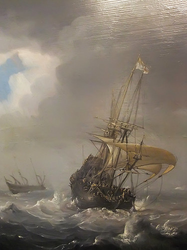 Detail of Shipping in Stormy Seas by Julius Porcellis 1610-1654 Oil on Canvas (1)