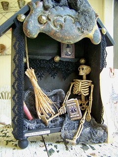 Vintage Mixed Media Halloween Shadowbox Assemblage